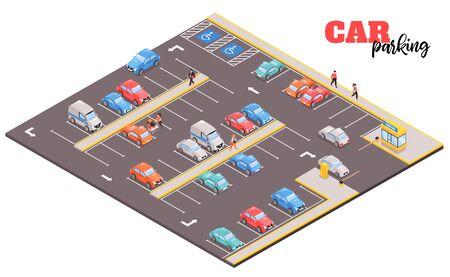 Isometrische parkeercomplexsamenstelling met uitzicht op vierkant gebied met afbeeldingen van auto's en mensen vectorillustratie Vector Illustratie