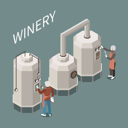 Wine production process at factory isometric composition 3d vector illustration