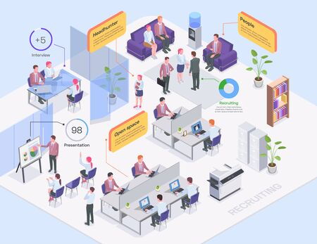 Recruiting agency office interior headhunters and job candidates isometric composition 3d vector illustration Vektorové ilustrace