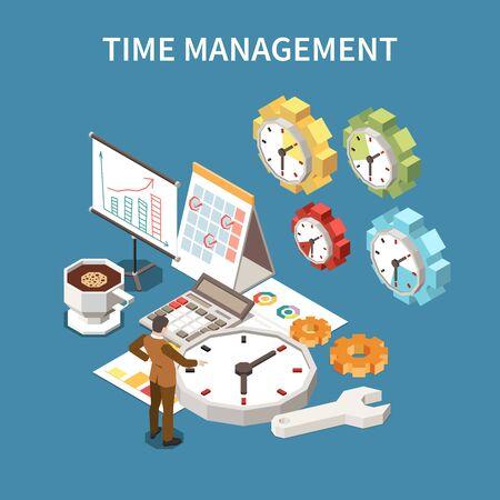 Time management schedule concept with deadline symbols isometric vector illustration
