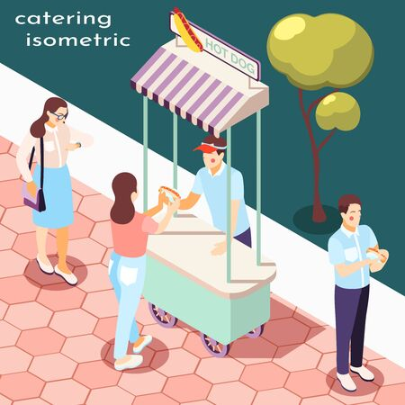 Street food in park isometric composition with catering symbols  vector illustration