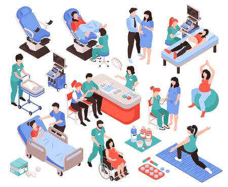Gynecology and obstetrics isometric set of  pregnant female persons and medical staff supporting women health isolated vector illustration Ilustracja