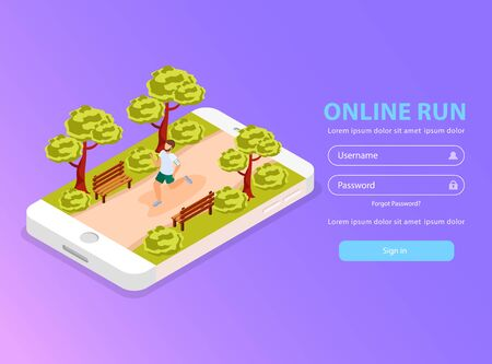 City runners community isometric landing page with training program tracking  workouts reaching personal fitness goals vector illustration