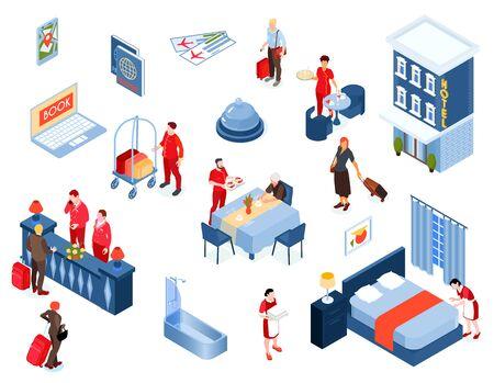 Hotel conjunto de colores isométricos de personal y elementos de visitantes del interior y el edificio desde el exterior ilustración vectorial aislada