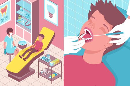 Dentists office interior 2 vertical isometric banners with placing orthodontic braces on young patients teeth vector illustration Stock Illustratie