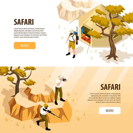 Safari isometric horizontal banners set with tourist tent and people with weapons watching animals 3d isolated vector illustration