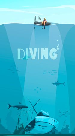 Scuba divers exploring shipwreck deep in the ocean flat comics style composition with underwater background vector illustration