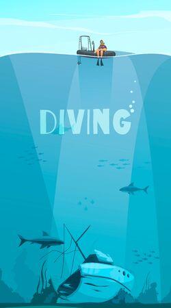 Taucher erkunden Schiffswrack tief im Ozean flache Comic-Stil-Komposition mit Unterwasser-Hintergrund-Vektor-Illustration