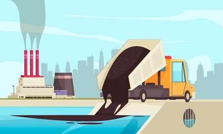 Nature water pollution flat composition with view of factory buildings and truck spilling waste into water vector illustration Ilustração