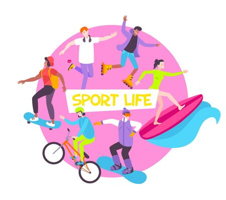 Sport life flat round composition with young people riding bicycle skateboard surfboard roller vector illustration