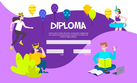 Colorful diploma template with blank text field balloons and kids icons flat vector illustration Ilustração