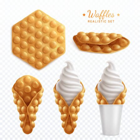 Bubble hong kong waffles realistic set of isolated images on transparent background with cream and text vector illustration