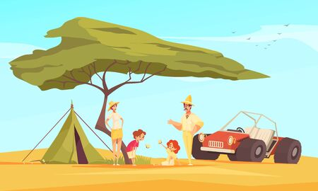 Safari travel adventures flat composition with family in front of tent under baobab tree vector illustration