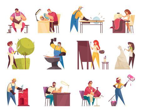 Icônes d'artisan sertie d'illustration vectorielle isolée sur mesure et artiste
