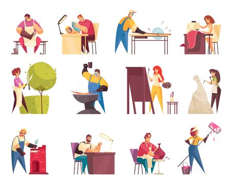 Craftsman icons set with tailor and artist flat isolated vector illustration Illustration