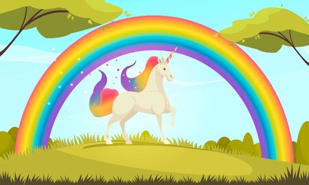 Mystical creatures flat cartoon composition of white unicorn with colorful tail and mane under rainbow vector illustration