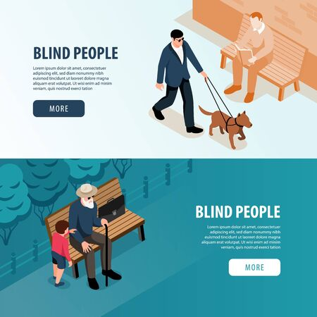 Blind people outdoor 2 isometric horizontal web banners with grandchild assistance and guide dog walk vector illustration Illustration