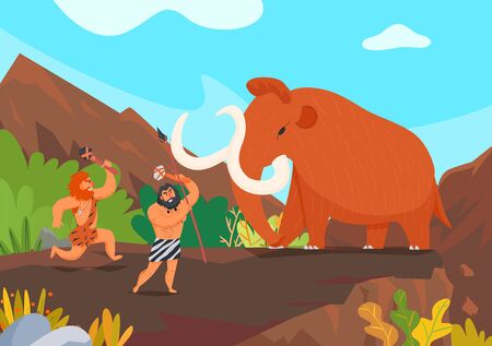 Two primitive men hunting mammoth with stone weapons cartoon vector illustration