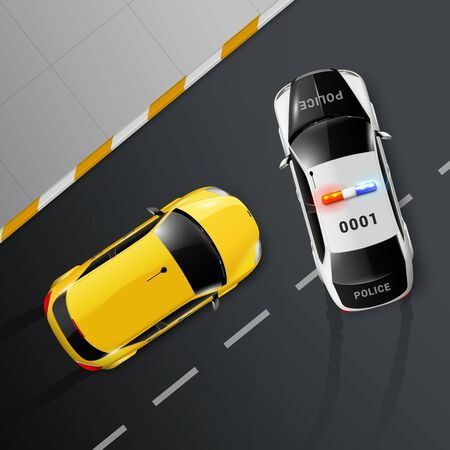 Cars top view realistic composition with road surface and police getting in way of chased automobile vector illustration