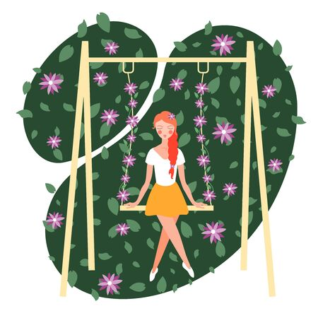 Flower girl sitting on swing flat abstract composition with ornamental green spots blooming plants background vector illustration