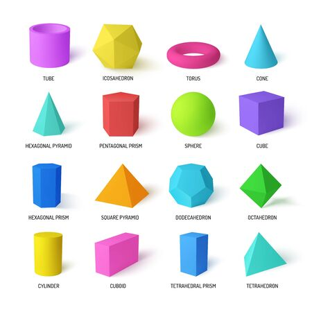 Basic stereometry shapes realistic colorful set of tetrahedral and hexagonal prism icosahedron dodecahedron square pyramid  isolated vector illustration