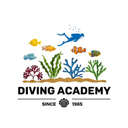 Diving academy courses training booklet advertising lettering with scuba diver silhouette colorful seaweeds and fish vector illustration Stockfoto - 130188234