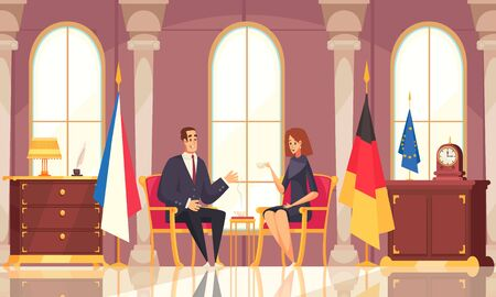 Presidential coffee conversation flat composition with office interior negotiations with foreign diplomatic representative state flags vector illustration