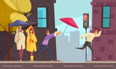 Bad rainy weather in city flat composition with people in raincoats under umbrellas at crossroad vector illustration
