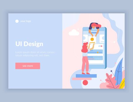 Web development flat composition web site landing page with see more button text and doodle images vector illustration