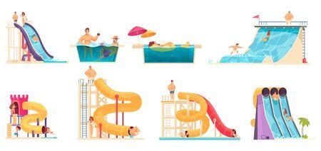 Aqua park visitors enjoying attractions 8 comics cartoon compositions with water  slides  bath vector illustration
