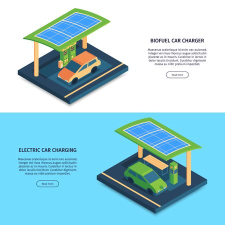 Isometric green energy horizontal banners set with editable text with buttons and electric cars on charge vector illustration