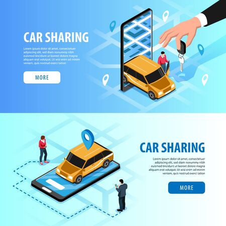 Car sharing automatic access via smartphone 2 horizontal isometric web banners with  handing key app vector illustration