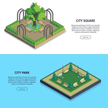 Set of two isometric city park horizontal banners with buttons text and images with public gardens vector illustration
