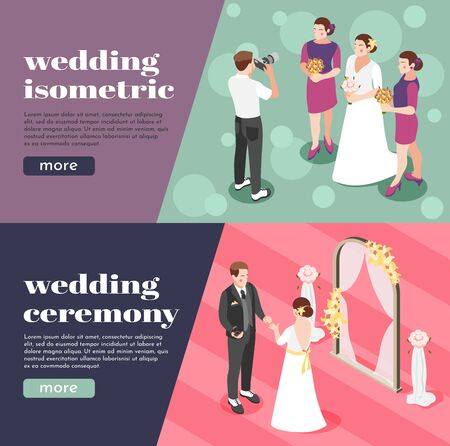 Wedding ceremony isometric banners with photographer taking pictures of bride and her girlfriends vector illustration Ilustração