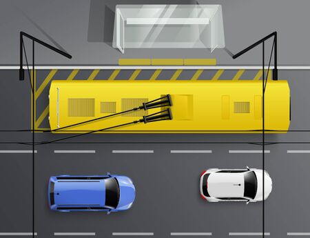 Cars top view realistic composition with images of automobiles driving along road and trolleybus at stop vector illustration