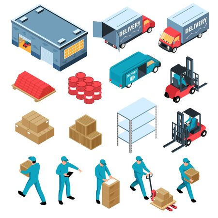 Logistic isometric set of warehouse delivery cargo transportation forklift racks and boxes isolated icons vector illustration Ilustracja