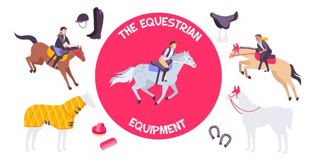 Horse equipment composition at the center with rider on horseback vector illustration