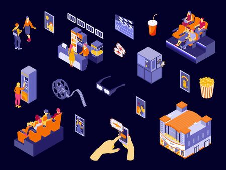 Colorful cinema elements and people in movie hall isometric icons set isolated on dark background 3d vector illustration