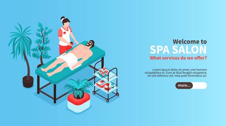 Isometric beauty salon horizontal banner with slider button text and images of spa treatment with people vector illustration 일러스트