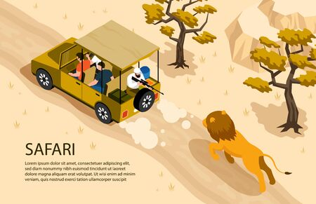 Lion running after safari car and man with gun 3d isometric horizontal vector illustration