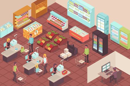 Supermarket isometric background with buyers paying for their purchases at checkout vector illustration Illustration