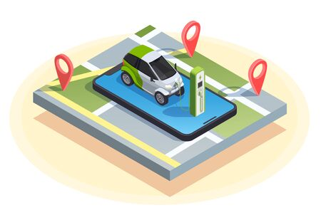 Gas station isometric composition of charging car on top of smartphone with location signs and map vector illustration