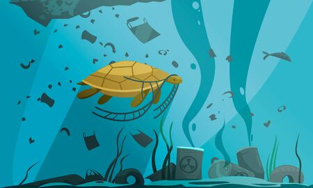 Nature water pollution composition with underwater scenery and turtle swimming through particles of dirt and waste vector illustration
