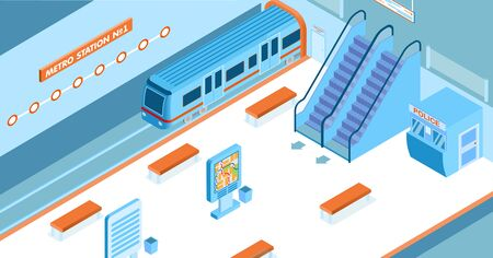 Empty metro station with arriving train escalators police booth map 3d isometric vector illustration Illustration