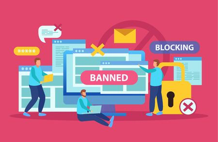 Internet blocking symbolic composition with user stopping email harassment with big lock banning abuser flat vector illustration Ilustração