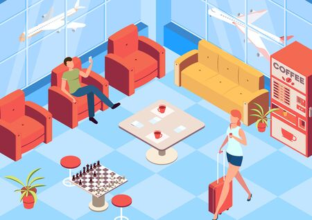Vip airport waiting room isometric background with chess and coffee machine symbols vector illustration Çizim