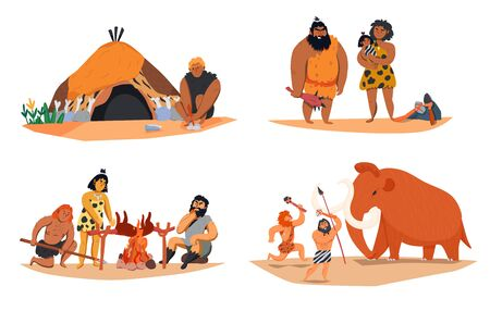 Cartoon set of 2x2 compositions with primitive men families hunting cooking isolated vector illustration Illustration