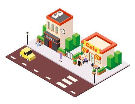 Isometric city buildings background composition with view of street cafe and bank houses with people characters vector illustration