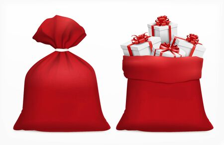Red sack with christmas gifts realistic composition santa bags filled with gift boxes on blank background vector illustration
