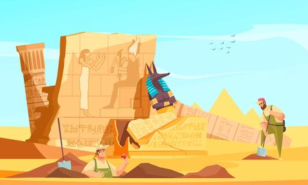 Archaeologists discover ancient egyptian tombs flat composition with digging revealing burial chamber walls afterlife god figure vector illustration 일러스트